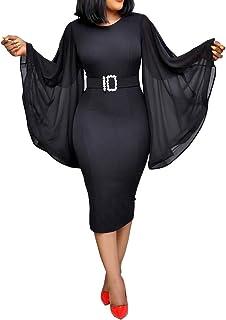 VERWIN Long Sleeve Round Neck Patchwork Plain Women's Bodycon Dress Flare Sleeve Midi Dress