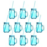 15 oz. Colored Mason Jars with Straw - 10 pack - Blue