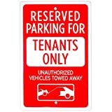 Reserved Parking - Tenants Only Sign, 18' x 12'   Reflective Parking Restriction Pre-Drilled Metal Industrial Warning Sign for Private Property, Parking Lots, Home Driveways, Yards, & Businesses