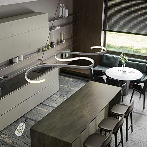 GBLY LED Pendelleuchte Esstisch 45W Dimmbar Hängeleuchte Weiß Pendellampe Modern Hängelampe Höhenverstellbar Leuchte für Büro Esszimmer Kurve Design mit Fernbedienung
