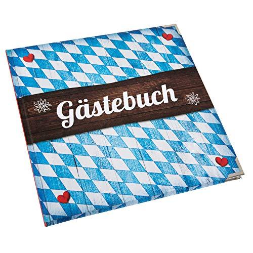 Logbuch-Verlag Gästebuch bayerisch blau weiß 21 x 21 cm quadratisch mit Rautenmuster - Hochzeit...