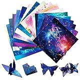 Yisscen 250piezas Papel de Origami, 15x15cm Cuadrado Doble Cara Plegable DIY Origami, Usato per Día del Niño Proyectos de Artes y Oficios Doce Constelaciones Sakura Cielo Estrellado Kit de Origami
