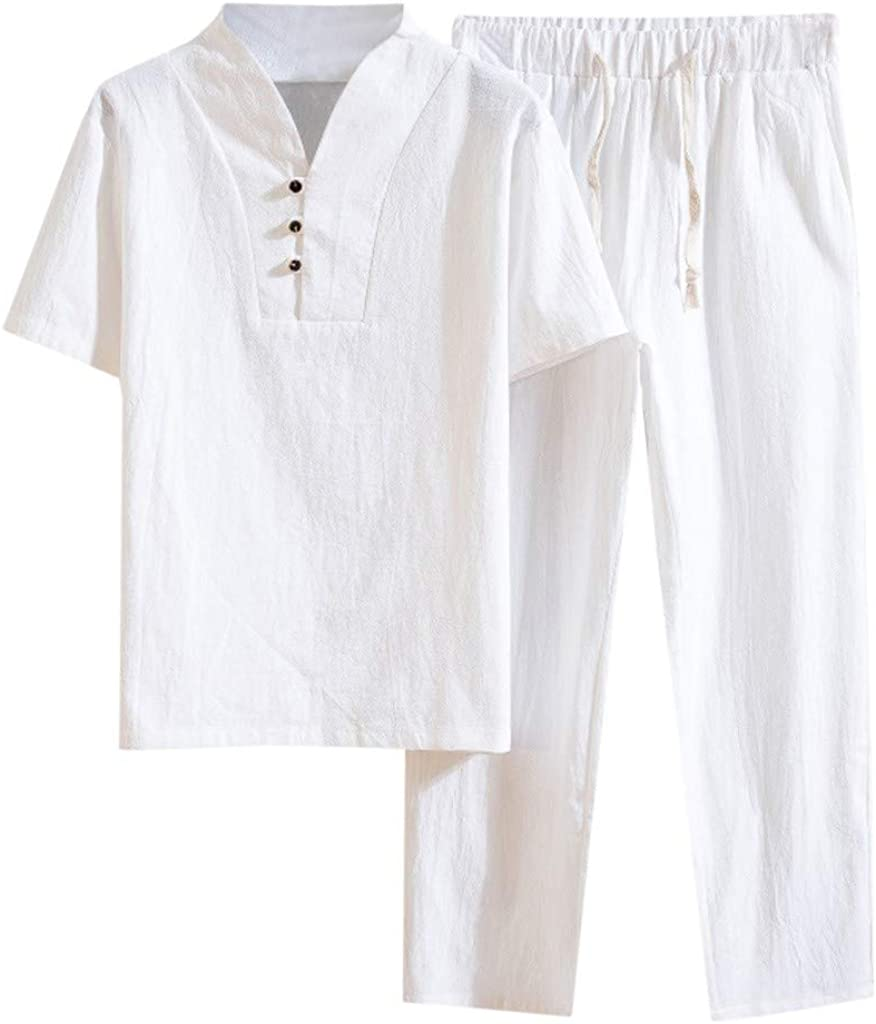 Fitfulvan Max 76% OFF Men's Baggy Casual Cotton Over item handling ☆ Two-Piece Bl Set Color Linen