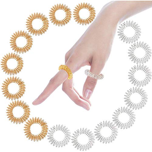 Massage Ring Set, 16 Stücke Massageringe, Akupressurringe, Anti Stress Fingermassagering, Fingermassage-Ring, für Jugendliche, Erwachsene, Leise Stress Reduzierer und Massager, Gold/Silber
