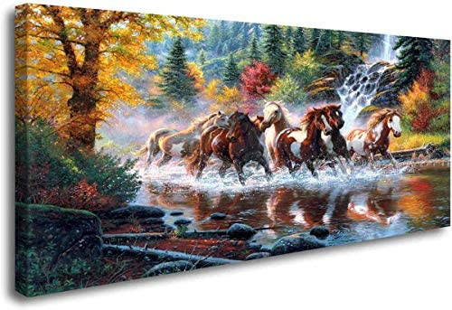 ArtHome520 Golden Landscape Home Decor Canvas Print Painting Colorful Animal Horse Picture Wall product image