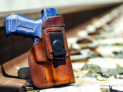 OUTBAGS USA LS1P99 (BROWN-RIGHT) Full Grain Heavy Leather IWB Conceal Carry Gun Holster for Walther P99 Full Size 9mm and .40 S&W. Handcrafted in USA.