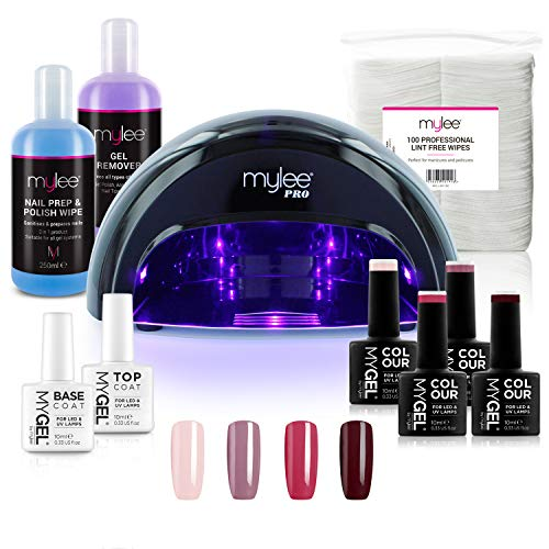 Mylee Compleet Professioneel Gelnagellak Ledlamp Kit, 4x MyGEL Nagellak, Top & Base Coat, Mylee PRO Salon Convex Curing® LED-lamp, Prep & Wipe, Gelremover en meer (Kit met zwarte lamp)