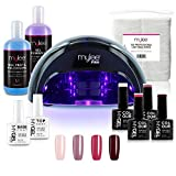 Kit Gel Semi-Permanent Professionnel Mylee London, 4x Gels Couleur, 1x Gel Base Coat, 1 x Gel Top Coat, Lampe LED Convex Mylee PRO Salon (noire)