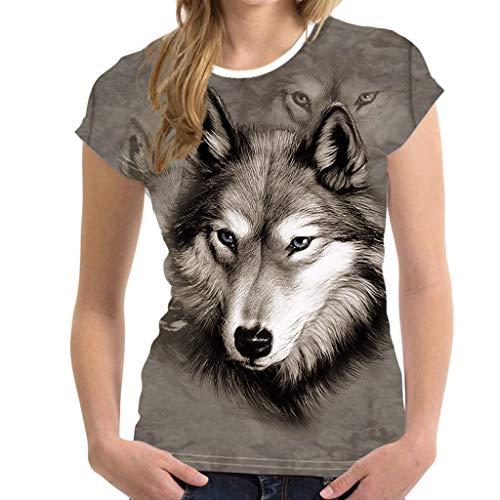 Männer und Frauen Universaloberteil 3D Druck Tier Sommer Kurzarm T-Shirts Top Bluse Lustige Wolf drucken Dekoratives Hemd Joker langärmeliges Oberteil T-Shirt Cooles Hemd Tunika (M, Mehrfarbig)
