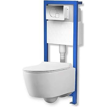 Wand Tiefspül WC WC Sitz Soft Close Delta 50 Geberit Duofix Vorwandelement