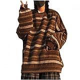 Liquidación Venta SHOBDW Neutral Sudadera Manga Larga 2021 Invierno Nuevo Raya Moda Suéter Espesar Calor Sudadera Cuello O Pullover Tops Suelto Talla Grande(Café,XL)