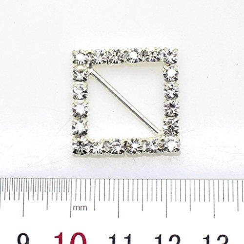 Lot de 20 22 mm x 22 mm en forme de carré strass Boucle coulissant pour mariage Invitation Lettre