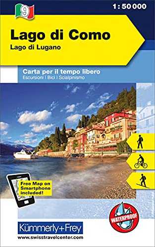 Lago di Como Lago di Lugano: Outdoor Karte Italien Nr. 9, 1:50 000 Freemap on Smartphone included (Kümmerly+Frey Outdoorkarte International)