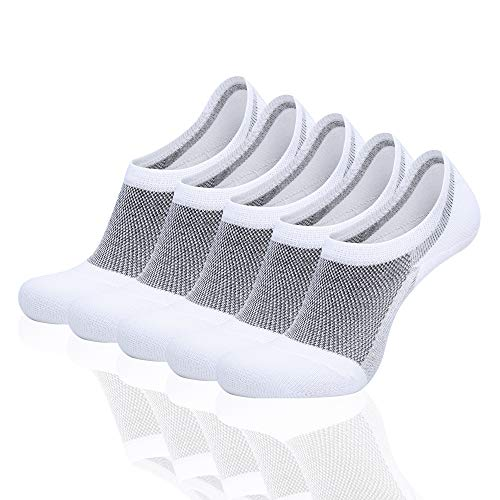 FARCHAT Calcetines Mujer Invisibles Calcetines Tobilleros Hombre Respirable Blanco 39-42 Algodón 10 Pares