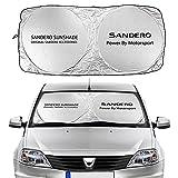 Sun Auto-Sonnenschutz Auto Windschutzscheibe Sun Shade Cover Kompatibel mit Dacia Sandero Stepway R4 Xplore Spitzway Autozubehör Anti UV Reflector Visierschutz Mesh Auto Schatten