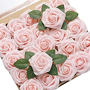 DerBlue 30pcs Artificial Roses Flowers Real Looking Fake Roses Roses Decoration DIY for Wedding Bouquets,Arrangements Party Baby Shower Home Decorations