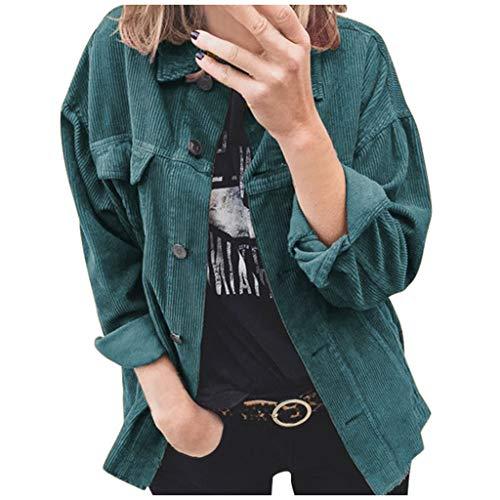 Xiangdanful Damen Corduroy Jacke Leichte Kordjacke Vintage Kurzmantel Revers Winterjacke Outwear Boyfriend Crop Windbreaker Mädchen Sweatshirt Streetwear Übergangsjacke Cardigan (XL, Blau)