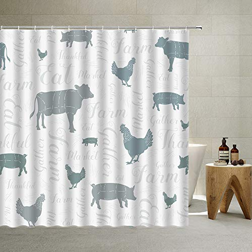 Farm Animal Shower Curtain Modern Farmhouse Cow Chicken and Pig Silhouettes Pattern in Blue Gray Artistic Font Text Poultry Theme Bathroom Home Decor Polyester Fabric with Hook,Gray ,70 X 70 Inch