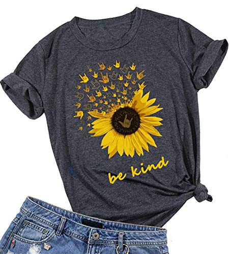 Damen Be Kind T Shirts Sonnenblume Grafik Gesegnet Hemd Lustige Inspirierende Girls Tees Tops