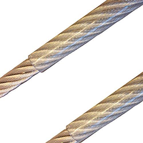 30 Meter - Edelstahldrahtseil 7x7 2mm/3mm PVC-transparent ummantelt V4A Inox rostfrei Drahtseil Stahlseil Geländerseil