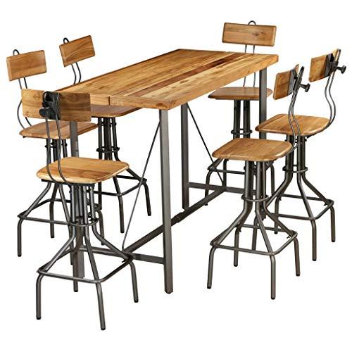 Festnight Ensemble De Bar Teck Recyclé Massif Table et Chaise De Bar
