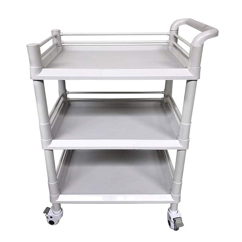 質量たっぷり弱まる美容院のカート、美容ベビーカーの棚のABSプラスチック病院の多目的用具のカートの灰色、3つのサイズは購入することができます (色 : 54*37*98cm)