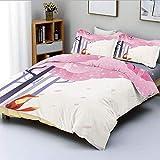 Juego de funda nórdica, composición inspirada en la primavera, árbol de Sakura rosa, hojas que caen, idílico decorativo, juego de cama de 3 piezas con 2 fundas de almohada, lavanda naranja rosa claro,