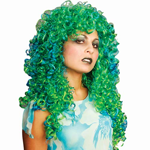 Two Tone Curl Swamp Color Green & Blue - Enigma Wigs Women's Seaweed Witch Halloween 2 Bundle Costume Wig Care Guide