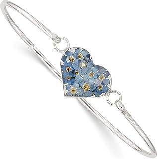 933686377 Sterling Silver Shrieking Violet Real Forget Me Not Heart Pendant Bangle  Bracelet