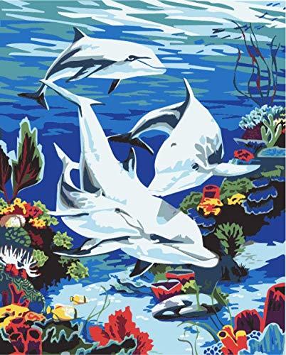 Pintura al óleo de bricolaje pintura de la mano de acrílico digital delfín bebé adecuado para principiantes adultos mayores y niños 40x50cm (con marco)