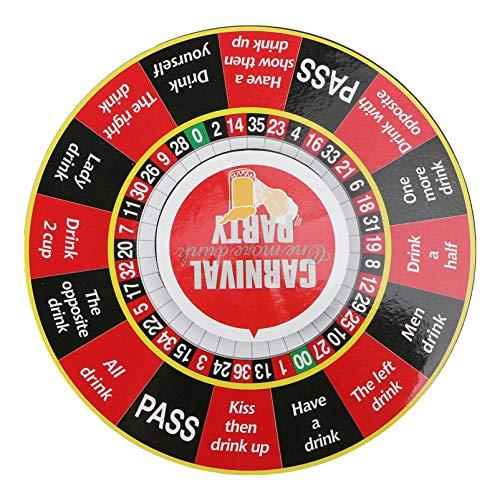 TOYANDONA Glück Trinkendes Roulette Englisch Wörter Muster Plattenspieler Trinkspinner Ktv Bar Vergnügungsspiel Getränk Unterhaltung Tool für Home Shop Bar
