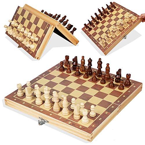 eLy Juego de tableros de ajedrez, Juego de ajedrez de Escritorio de Puzzle, Conjunto de Damas magnéticas Plegables, Adecuado para niños y Adultos de Serie de Juegos de Mesa, 11.4 * 11.4 Pulgadas