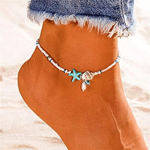 mimiliy Anklets 2 Piezas de la Cadena de Verano de la joyería de la Cadena de los pies Pearl Starfish Wave Cadena Colgante de la Cadena de la Cadena de Las Mujeres (Color de Metal: 3) (S : 9)