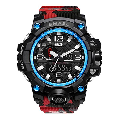 SMAEL Men's Sports Analog Quartz Watch Dual Display Waterproof Digital Watches with LED Backlight...