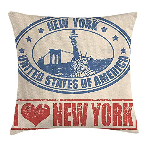 FAFANI Retro Poster Throw Pillow Cushion Cover, Vintage I Love New York with Statue of Liberty Grunge Rubber Stamps Design, Decorative Square Accent Pillow Case, 18 X 18 inches, Blue Orange