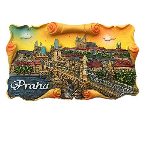 Imán 3D de Charles Bridge Vltava Praga República Checa para nevera, recuerdo de viaje, decoración del hogar y la cocina, imán de nevera de Praga República Checa