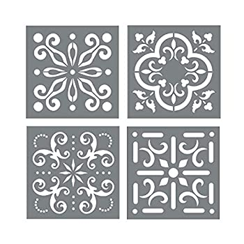 Mexican Tile Stencil Set - Pack of Four 4x4 Tile Stencil Designs for Painting - Wall or Floor Tile Stencil Designs - for Making Mosaic Tile Stencil Patterns