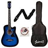 Juarez JRZ38C Acoustic Guitar, 38 Inch Cutaway with Bag (TBS Transparent Blue Sunburst)
