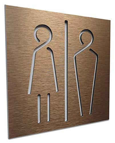 Bagno adesivi per porte - wc targhette citofono - toilette adesivo per porta - adesivo porta bagno - Aluminium 12cm x 12cm - uomo donna - Unisex - Bat
