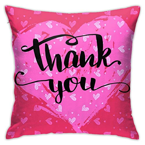 """Thank You Calligraphy Valentines Day Pillow Case Cushion Cover for Sofa Couch Decor Best Friend Friendship Quote Gift (18""""x 27""""Inch)"""