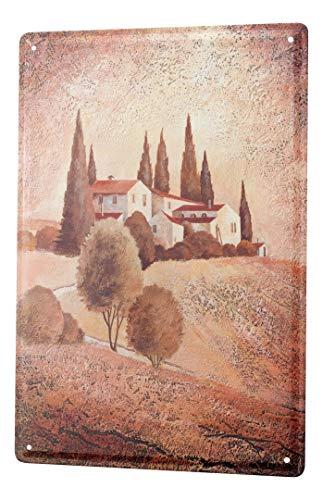 LEotiE SINCE 2004 Blechschild Galerie Maler Franz Heigl Bild Toskana Anwesen Landschaft braun 20x30 cm Metallschilder Nostalgie Küche