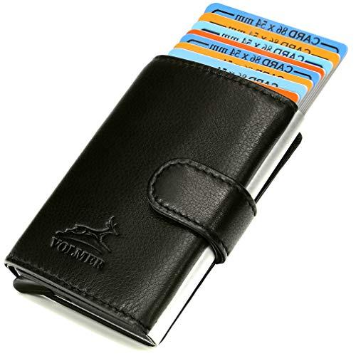 Fa.Volmer  - Estuche de cuero para tarjetas de crédito y billetero con RFID para hombre - Tarjetero elegante - Monedero con protección RFID # VO24Bl