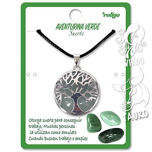 Collar de árbol de la Vida con Colgante Piedra Natural Energeticas - Distintas Piedras Semipreciosas (Aventurina Verde)