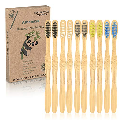 Spazzolino Bamboo 10 Pezzi, Spazzolino da denti di bambù, Senza Plastica, Senza BPA, con Setole di Carbone Morbide e Disegno Ergonomica-5 Colori, Biodegradabile