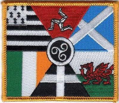 The Celtic Nations Flag Patch, Iron-On/Saw-On Embroidered Patch - Each one is Individually carded and Sealed in a Professional Retail Package - 4' x 3.5' Inches - Made in The USA