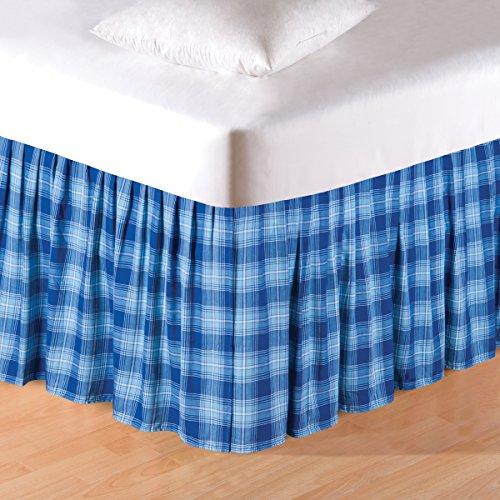 "C&F Home 82053C.7880 Fair Winds Plaid King Bed Skirt, Blue/White, 78"" X 80"" X 18"""