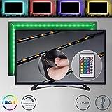 2m TV Tira LED USB con cubierta de silicona I RGB Flexibles Multicolor I Kit Completo con mando a distancia I Iluminacion para TV
