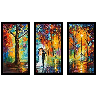 Picture Perfect International Leonid Afremov  Rainy Wedding  Framed Plexiglass Wall Art, Set of 3, 17.5  W x 33.5  H x 1  D