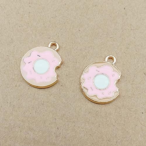 LLBBSS 10 Piezas De Aleación De Esmalte De Color Rosa Comida Donut Donut Encantos Accesorios Pendientes Retro Hecho A Mano Material De Los Pendientes De Bricolaje