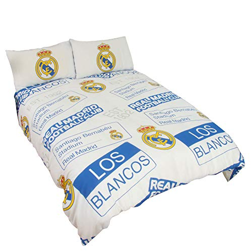 Real Madrid CF - Juego de Cama Infantil Oficial diseño Escudo del Real Madrid CF (Doble) (Blanco)